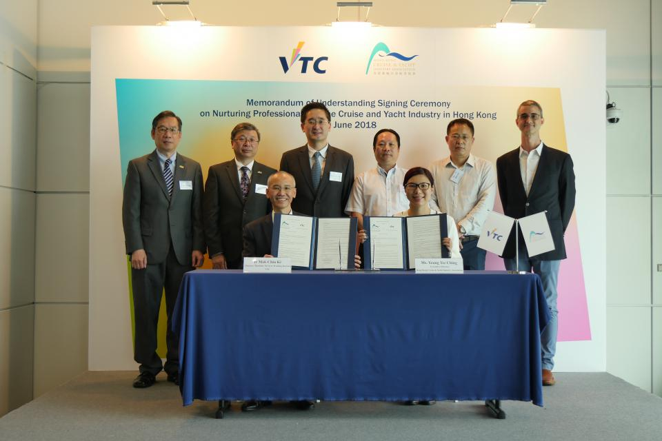 In view of the growing demand for talent in the fast-expanding global cruise and yacht industry, Hong Kong Cruise & Yacht Industry Association (HKCYIA) and the Vocational Training Council (VTC) signed a Memorandum of Understanding (MoU) today for nurturing professionals for the industry.